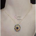 Fio Aço Inox Medalha Cristais e Pedra Lazuli - Dourado