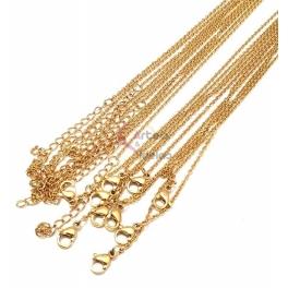 Pack 10 Fio Aço Inox Completo 316L Fininho (2x1.5mm) - Dourado [45 cm]