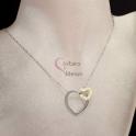 Fio Aço Inox Duo Heart - Prateado com Dourado