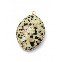 Pendente Pedra Semi-Preciosa Oval Jasper Dalmata - Dourado (35x26mm)