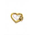 Fecho Rosca Coração AQ Zircónias - Dourado (18mm)