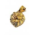 Pendente Aço Inox Leão Cristais - Dourado (27x20mm)