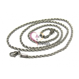 Fio Aço Inox Completo Cordão Twist (3mm) - Prateado [45cm]
