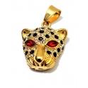 Pendente Aço Inox Leopardo Olhos Vermelhos - Dourado (33x25mm)