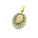 Pendente Aço Inox Nossa Senhora Relevo Brilhantes - Dourado (23x18mm)