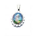 Pendente Aço Inox Nossa Senhora Fatima Cabochon [Mod. 003] Brilhantes - Prateado (18x15mm)