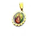 Pendente Aço Inox Nossa Senhora Cabuchon [Mod. 005] Brilhantes - Dourado (18x15mm)