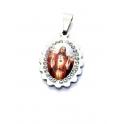 Pendente Aço Inox Sagrado Coração de Jesus Cabochon [Mod. 007] Brilhantes - Prateado (18x15mm)