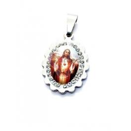 Pendente Aço Inox Sagrado Coração de Jesus Cabuchon [Mod. 007] Brilhantes - Prateado (18x15mm)