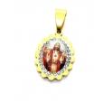 Pendente Aço Inox Sagrado Coração de Jesus Cabochon [Mod. 007] Brilhantes - Dourado (18x15mm)