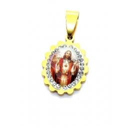 Pendente Aço Inox Sagrado Coração de Jesus Cabuchon [Mod. 007] Brilhantes - Dourado (18x15mm)