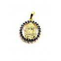 Pendente Latão AQ Nossa Senhora Cristais Azuis - Dourado (19x16mm)