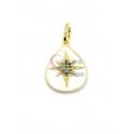 Pendente Latão AQ Lagrima Estrela Zircónias Multicor - Dourado (20x15mm)