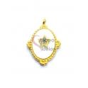 Pendente Aço Inox Oval Brasão Madreperola Estrela Zircónias - Dourado (22x17mm)