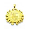 Pendente Aço Inox Nossa Senhora Rebordo Ondulado - Dourado (33mm)
