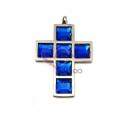Pendente Aço Inox Cruz Cristais Quadrados [Azul] - Prateado (34x23mm)