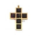 Pendente Aço Inox Cruz Cristais Quadrados [Preto] - Dourado (34x23mm)