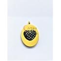 Pendente Aço Inox Oval Coração Marcassita - Dourado (21x15mm)