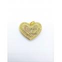 Pendente Latão AQ Coração Cristais - Dourado (17x20mm)
