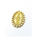 Pendente Latão Oval Nossa Senhora Perolas - Dourado (30x25mm)