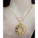 Fio Aço Inox Medalhão com Trevos 4 Brilhantes - Dourado