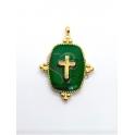 Pendente Aço Inox Rectangular Verde Brasão Cruz - Dourado (25x20mm)