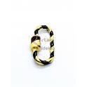 Fecho Rosca Oval AQ Listado Preto - Dourado (25x13mm)
