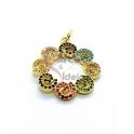 Pendente Latão AQ Roda Floral Zircónias Multicor - Dourado (22mm)