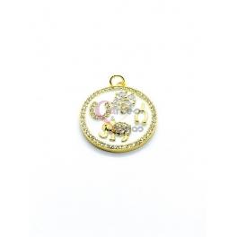 Pendente Latão AQ Medalhão Branco Zircónias - Dourado (22mm)
