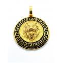 Pendente Aço Inox Medalhão Leão - Dourado (47mm)