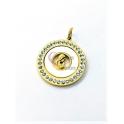 Pendente Aço Inox Madreperola [Nossa Senhora] Zircónias - Dourado (25mm)