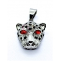 Pendente Aço Inox Leopardo Olhos Vermelhos - Prateado (33x25mm)