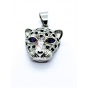 Pendente Aço Inox Leopardo Olhos Azuis - Prateado (33x25mm)