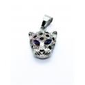 Pendente Aço Inox Leopardo Olhos Azuis - Prateado (27x18mm)