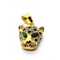 Pendente Aço Inox Leopardo Olhos Verdes - Dourado (27x18mm)