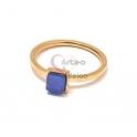 Anel Aço Inox Mini Druzzy Quadrada [Azul] - Dourado