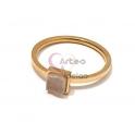 Anel Aço Inox Mini Druzzy Quadrada [Creme] - Dourado