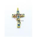 Pendente Latão AQ Cruz Crystals Deluxe Azuis - Dourado (30x18mm)