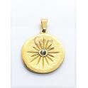 Pendente Aço Inox Irregular Sol Zircónia - Dourado (25mm)