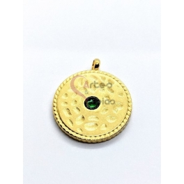 Pendente Aço Inox Spots Zircónia Verde - Dourado (20mm)