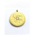 Pendente Aço Inox Spots Zircónia Branco - Dourado (20mm)
