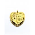 Pendente Aço Inox Coração Estilizado Cruz - Dourado (21mm)