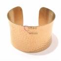 Pulseira Aço Inox Cuff Larga Martelada - Dourada
