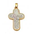 Pendente Aço Inox Cruz Cristais - Dourado (50x30mm)
