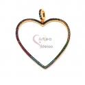 Pendente Aço Inox Coração Brilhantes Cores - Dourado (44mm)