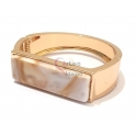 Pulseira Cuff Retangulo Marmoreado - Dourada