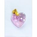 Pendente Aço Inox Coração Cristal Rosa - Dourado (18mm)