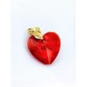 Pendente Aço Inox Coração Vermelho - Dourado (18mm)