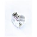 Pendente Aço Inox Coração Cristal - Prateado (18mm)