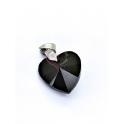 Pendente Aço Inox Coração Cristal Preto - Prateado (18mm)